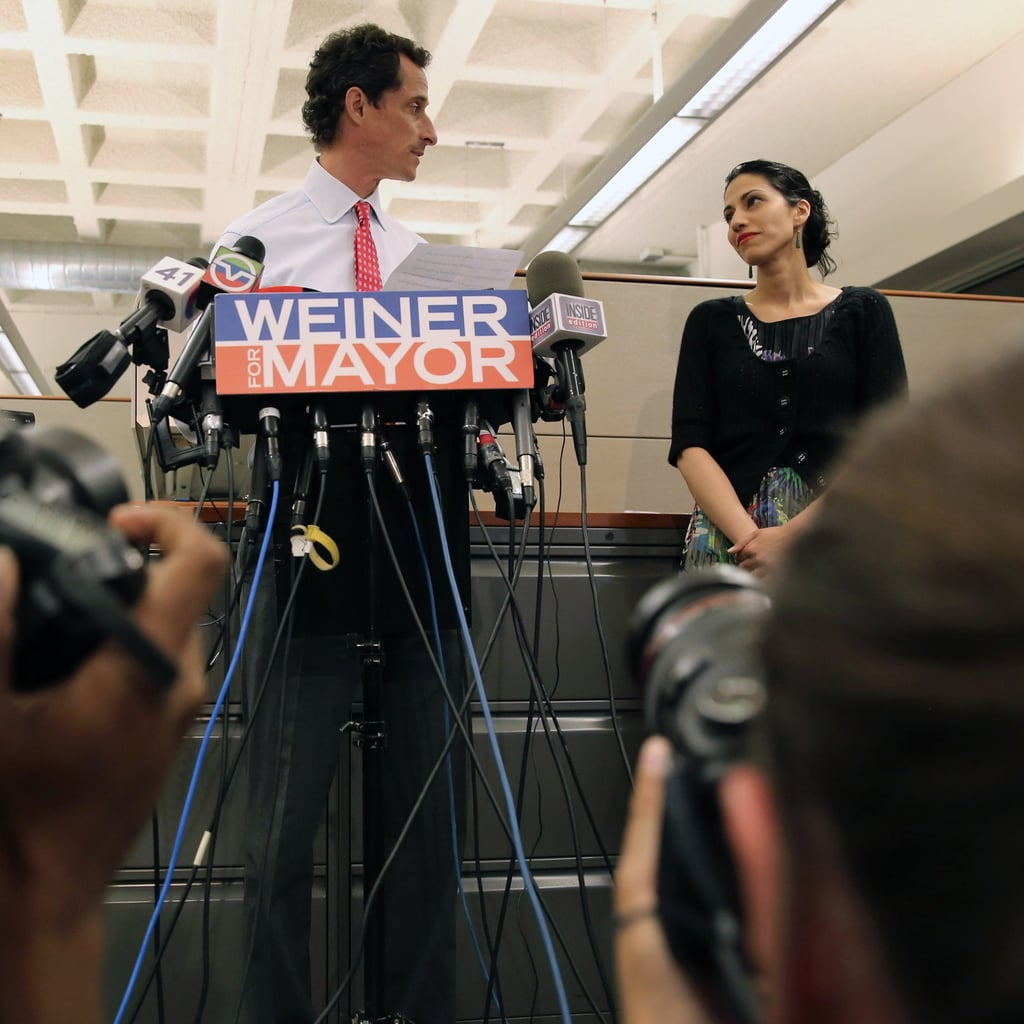 """Huma Abedin """"Our marriage, like many others, has had its ups and its downs. It took a lot of work and a whole lot of therapy to get to a place where I could forgive Anthony. It was not an easy choice in any way, but I made the decision that it was worth staying in this marriage. That was a decision I made for me, for our son, and for our family."""" Huma spoke at Anthony Weiner's July 23 press conference and said that she will be standing by Weiner through his newest scandal."""