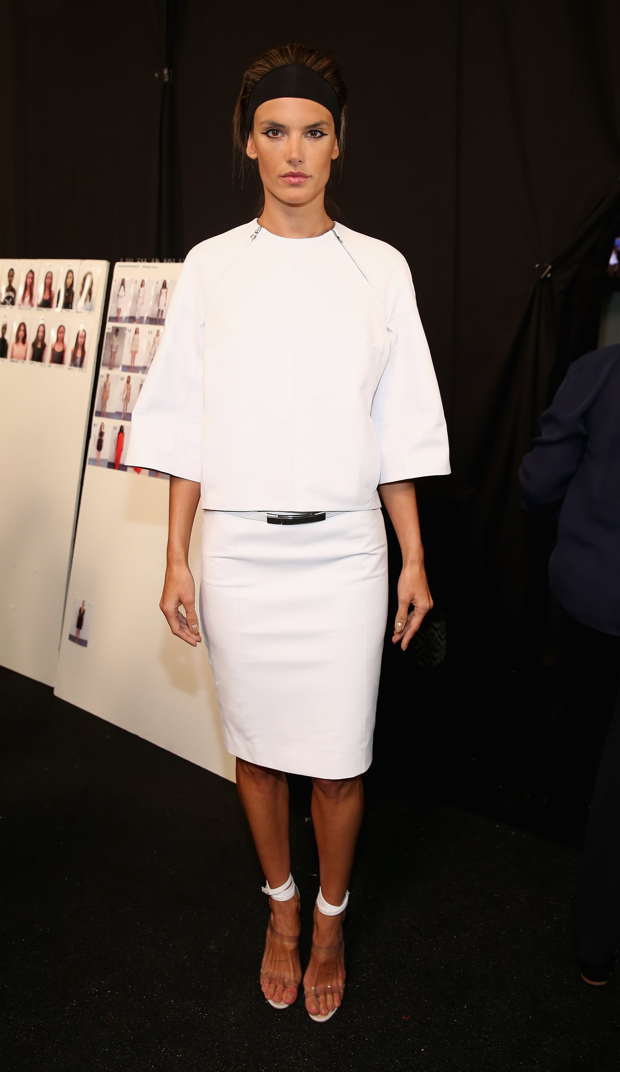Alessandra Ambrosio posed for photos before hitting the runway for the Kaufmanfranco show on Monday.