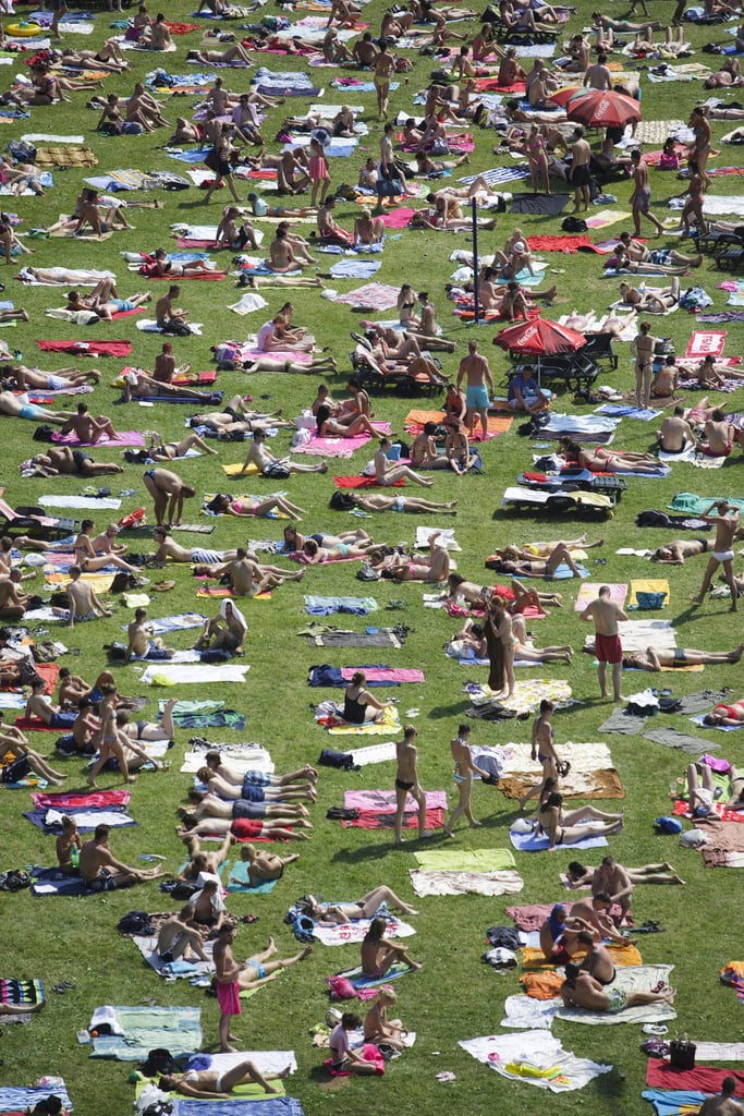 A public swimming pool in Prague was busy during a June heat wave in Central Europe.
