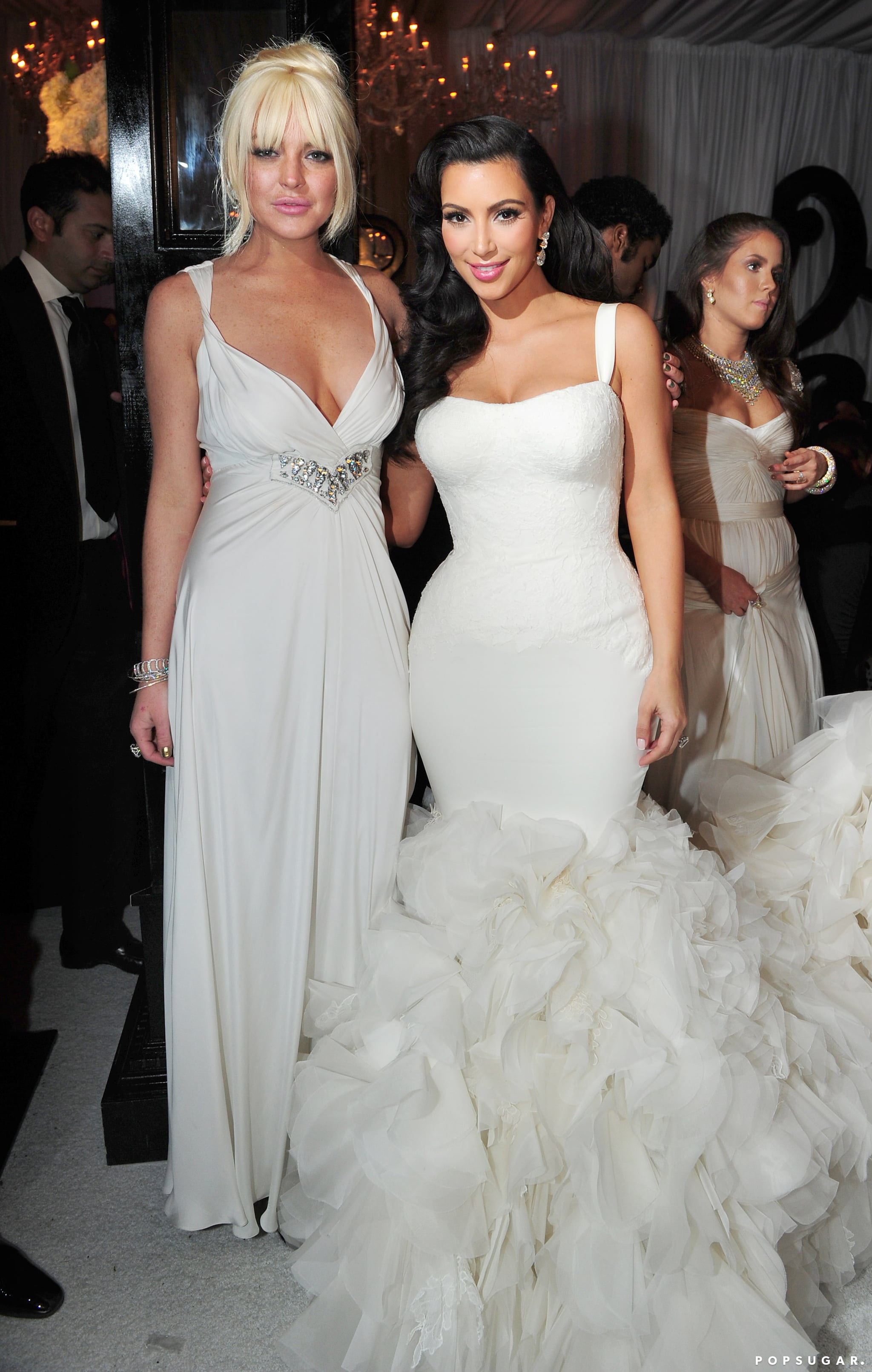 A blond Lindsay Lohan posed with the woman of honor.