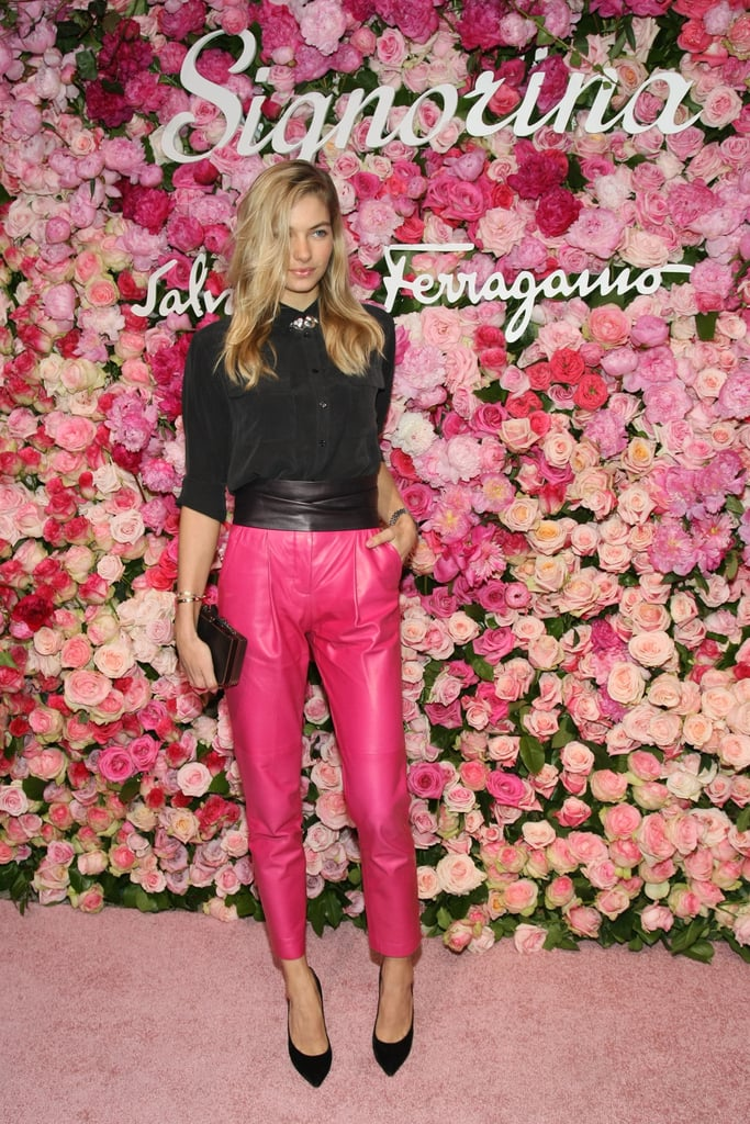 Jessica Hart wowed in hot pink pants (that paired perfectly against the floral backdrop).