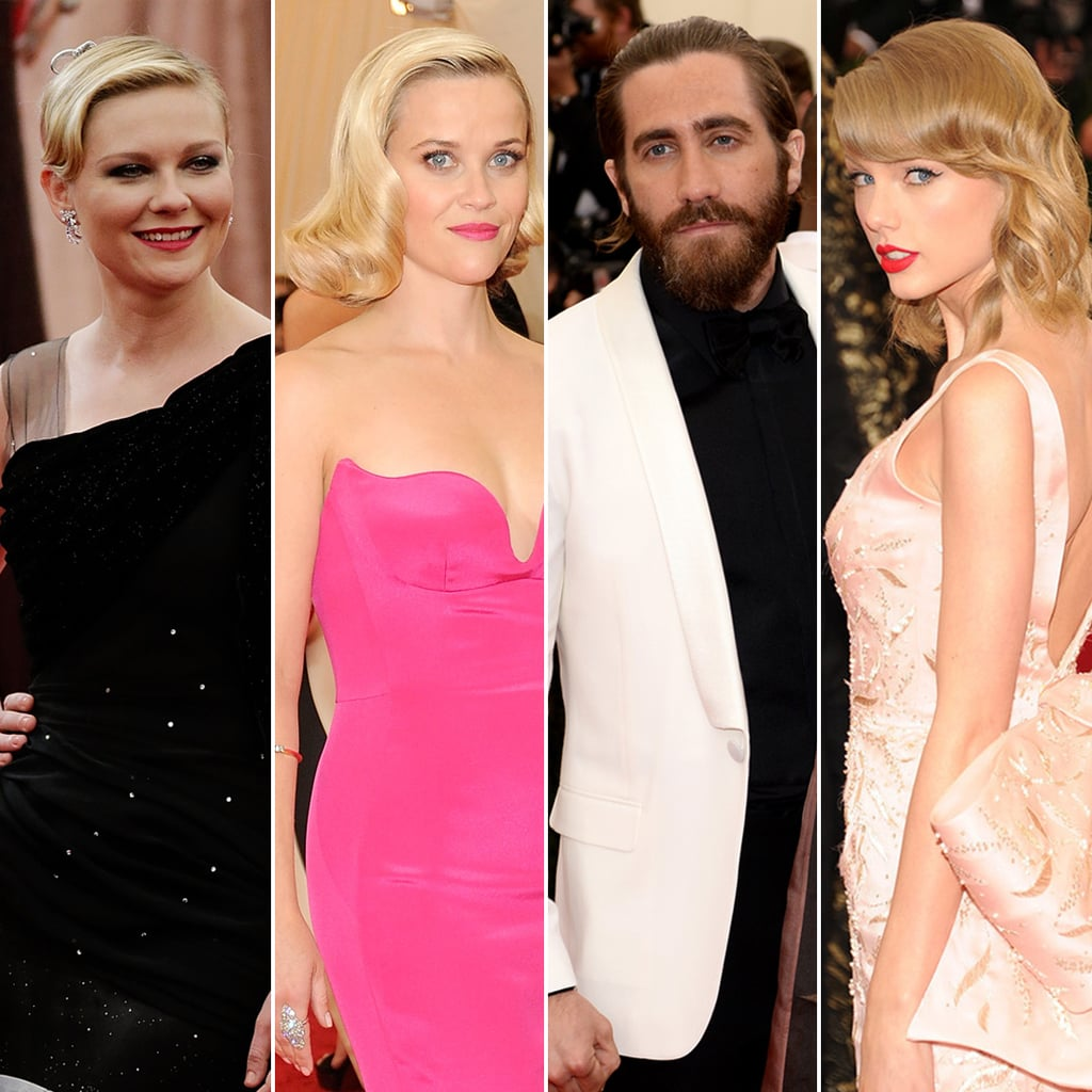 Jake Gyllenhaal may have showed up at the Met Gala with his newly blond sister, Maggie, but it was his three blond ex-girlfriends who could have made things weird for the actor; Kirsten Dunst, Reese Witherspoon, and Taylor Swift, who have all dated Jake in the past — and, oddly enough, all kind of looked alike on the red carpet — were in attendance as well. Rough!