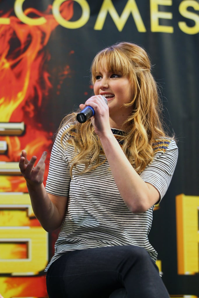Jennifer Lawrence answered a fan question during an appearance at the Mall of America in March.