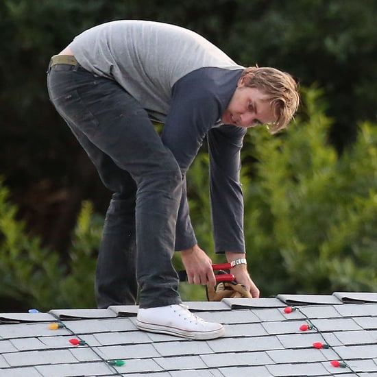 Dax Shepard Hanging Up Christmas Lights