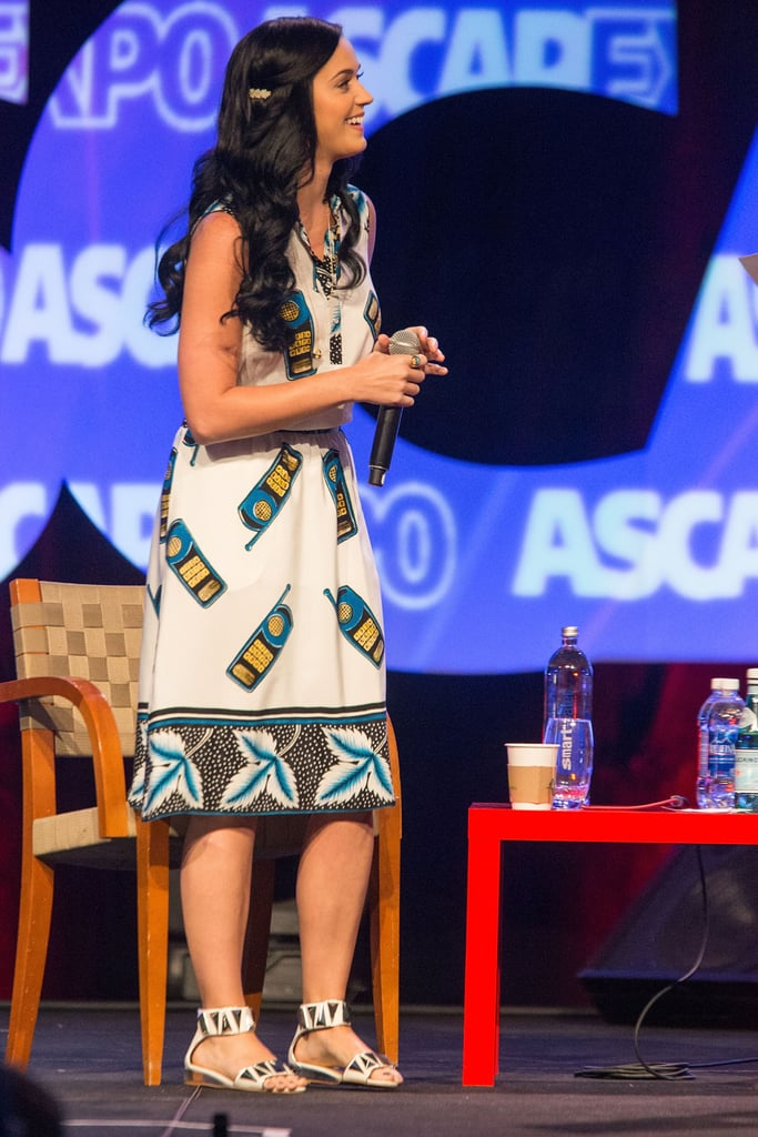 Katy Perry wore a cellphone-print dress.