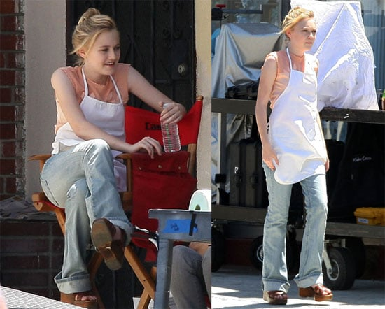 Photos of Dakota Fanning Filming The Runaways