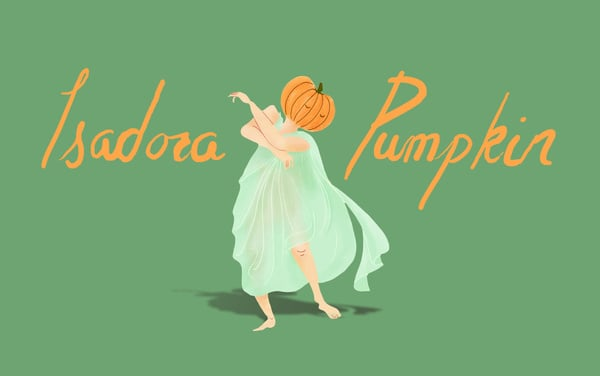 """Isadora Pumpkin  The Concept: """"As a Pumpkin, Isadora was expected to uphold the family name by winning the title of World's Heaviest Gourd, an honor the Pumpkins carried for decades. But little Isadora had no interest in gaining 1,500 pounds. In fact, only the power of movement moved her — so much so that she won the first Best Dancing Gourd Award. Unfortunately, her rise to patch popularity was cut short; she died tragically when her vines got tangled in a chucking catapult."""" The Real Deal: Isadora Duncan rose to fame as a dancer in the US and Russia in the early 20th century; her life was cut short at age 50 after a tragic car accident."""