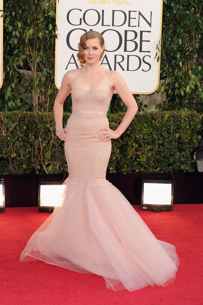 Amy Adams Makes a Ladylike Golden Globes Entrance in Marchesa