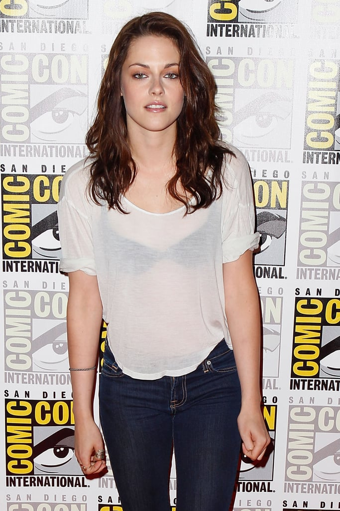 Kristen Stewart rocked a white t-shirt and jeans in 2011.