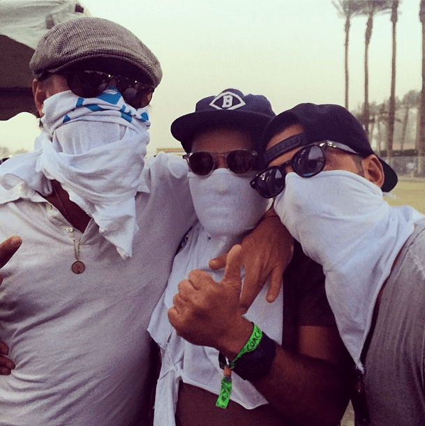 Leonardo DiCaprio (left) covered his face with a t-shirt, sunglasses, and a newsboy cap. Source: Instagram user gabrielamoussaieff