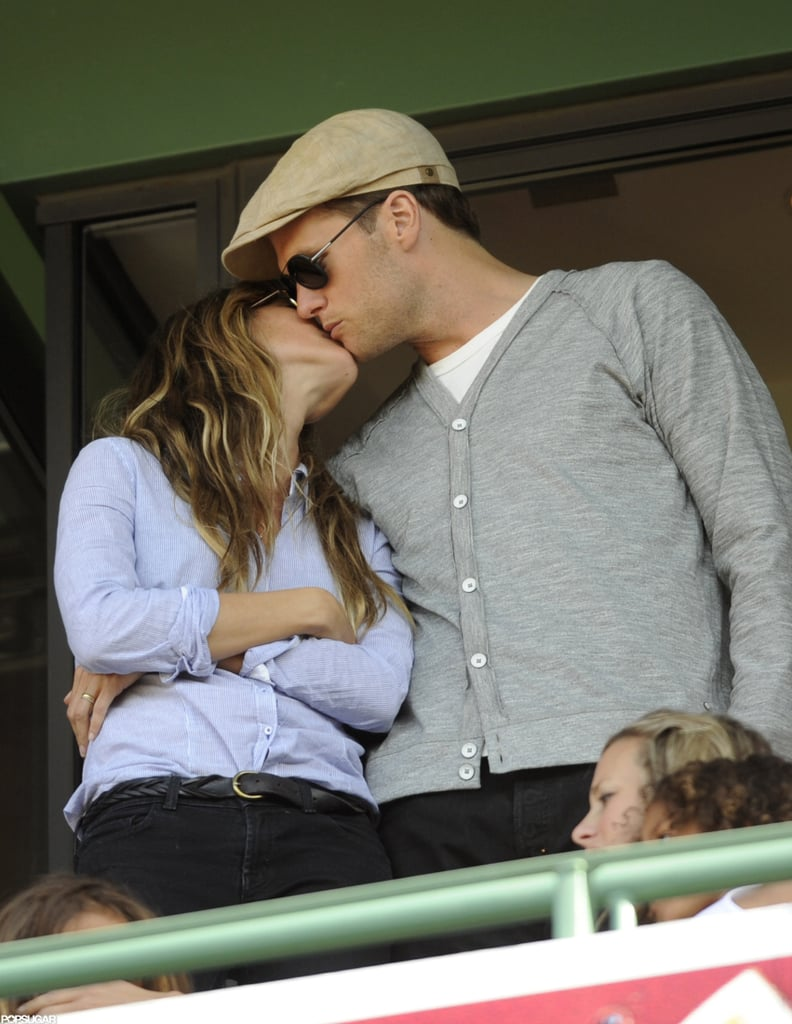 Tom Brady kissed Gisele Bündchen during the Red Sox game against the Yankees at Boston's Fenway Park in April.