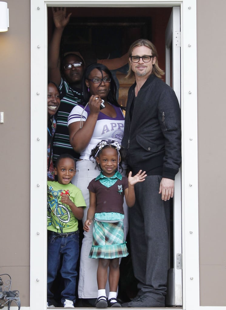 Brad Pitt visited a family living in one of the green houses.