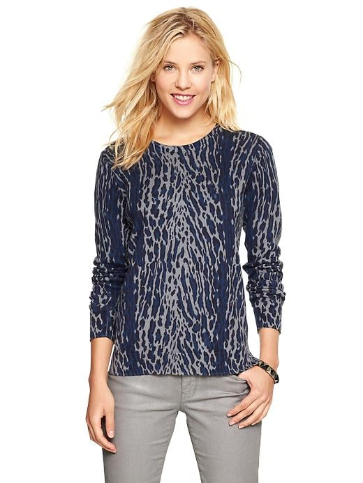 Add print and warmth to your office slacks with this Gap animal-print sweater ($45) up top.