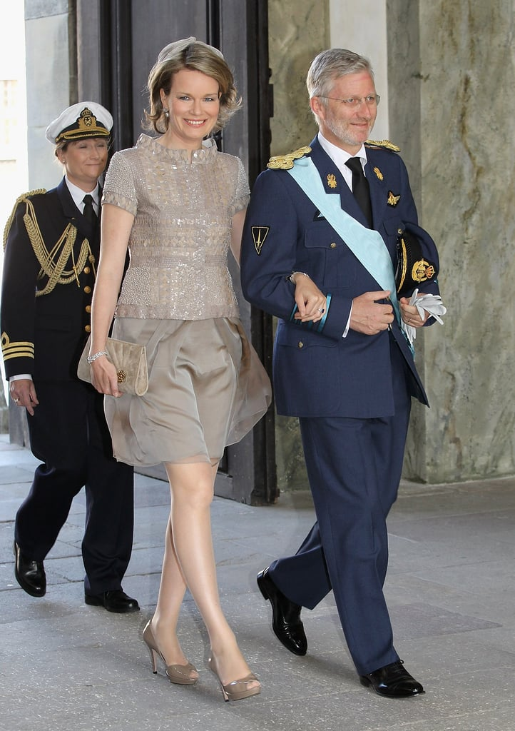 Crown Princess Mathilde of Belgium wearing Natan at the christening of the new Swedish heir in 2012.