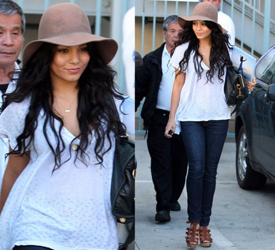 Photos of Vanessa Hudgens Wearing Floppy Hat in Santa Monica