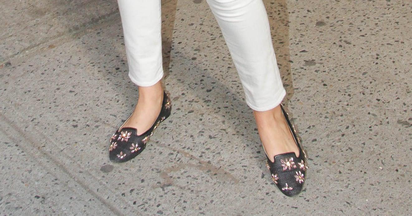Kate Upton's Floral-Embellished Loafers