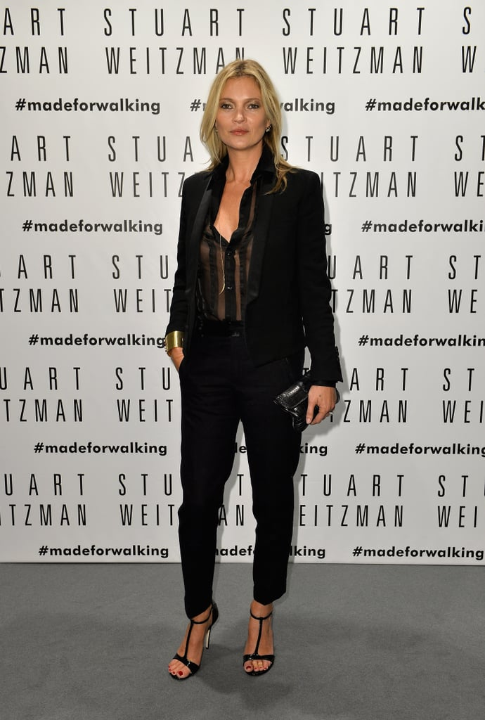 Kate Moss went for a sheer look on Thursday night when she attended the opening of a Stuart Weitzman store in Milan.