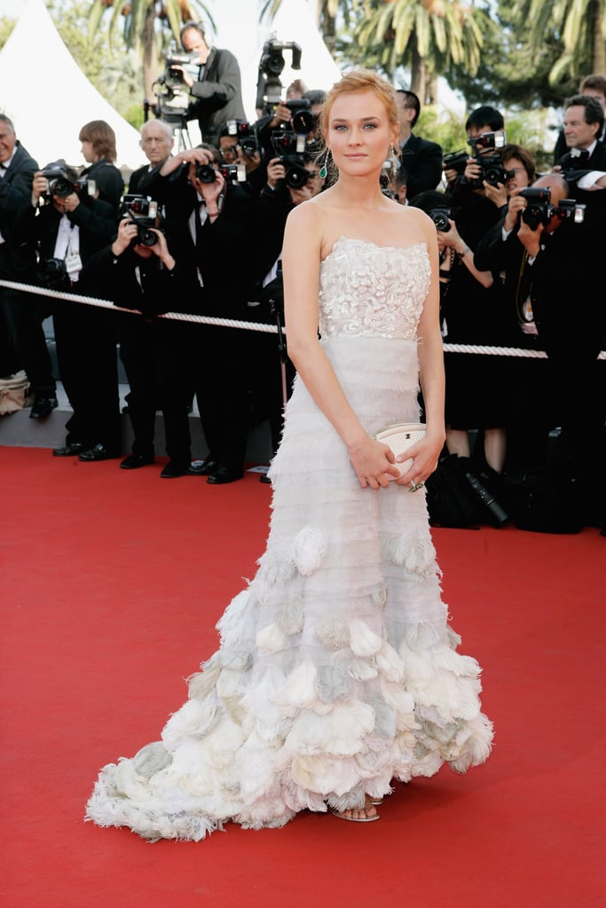 She looked ravishing in a white ultraruffled gown by Chanel Haute Couture at the 2006 Palme d'Or Awards closing ceremony.