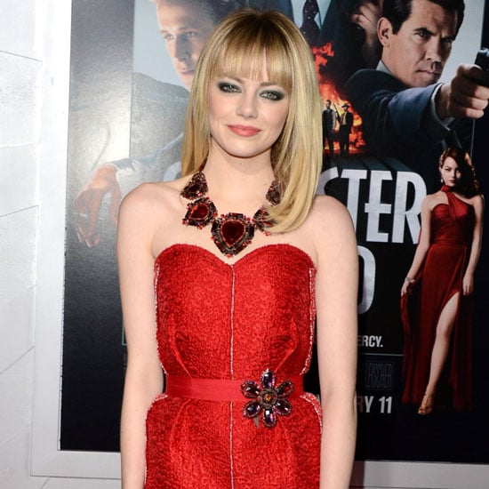 Emma Stone Wearing Strapless Red Dress