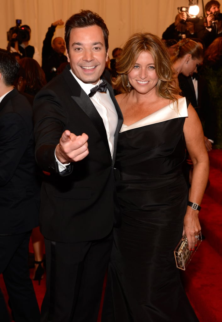 Jimmy Fallon and his wife, Nancy Juvonen, joked around with photographers.