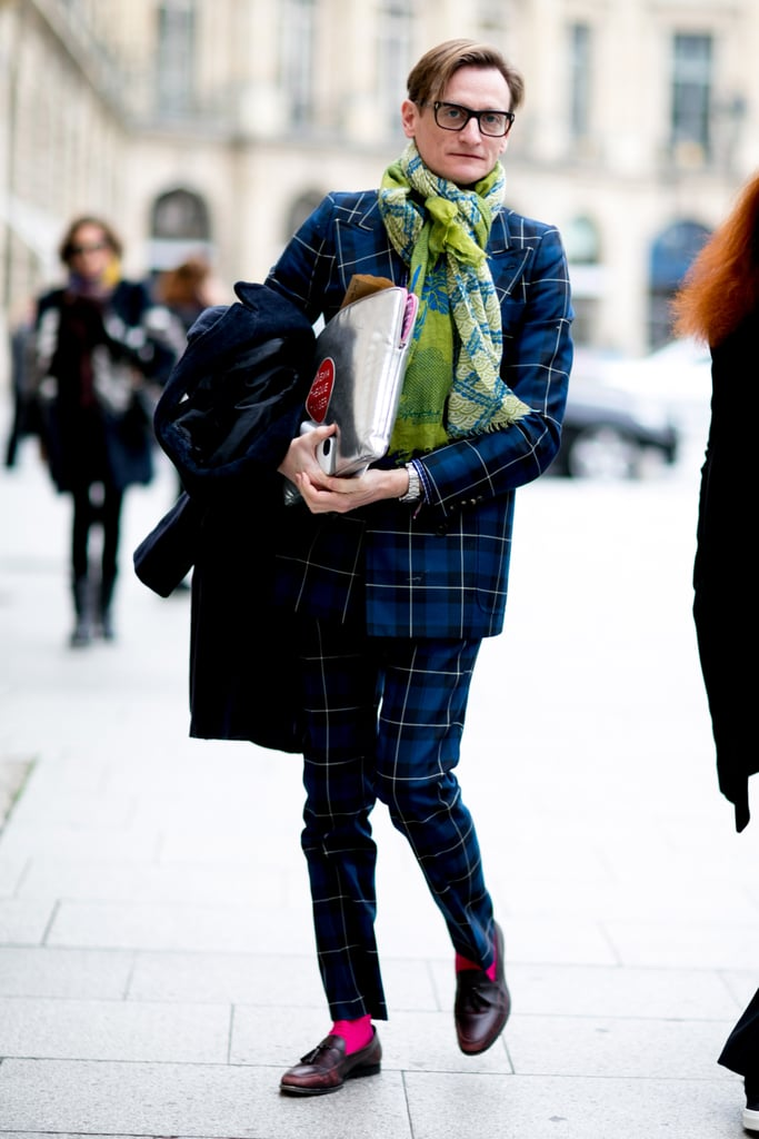 Hamish Bowles brought the menswear to rival any woman's in a blue plaid suit.