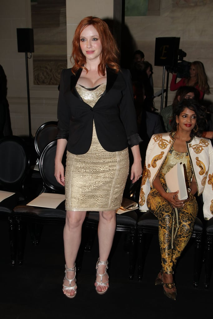 Christina Hendricks made an appearance at the Versace show for Paris Fashion Week.