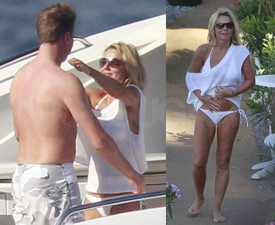 Pictures of Geri Halliwell in White Bikini Kissing Henry Beckwith On Holiday in South of France