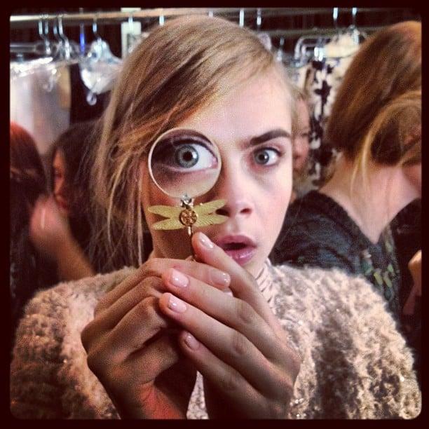 We spy Cara backstage at Tory Burch. Source: Instagram user caradelevingne