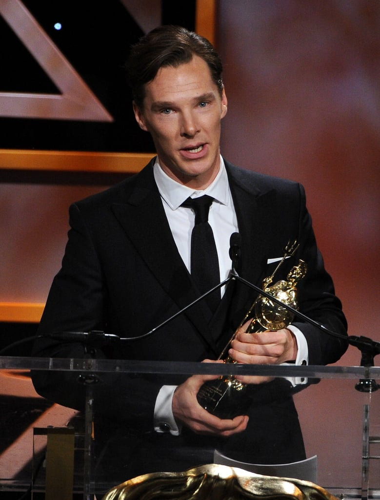 Benedict Cumberbatch hit the stage to accept his British artist of the year award.