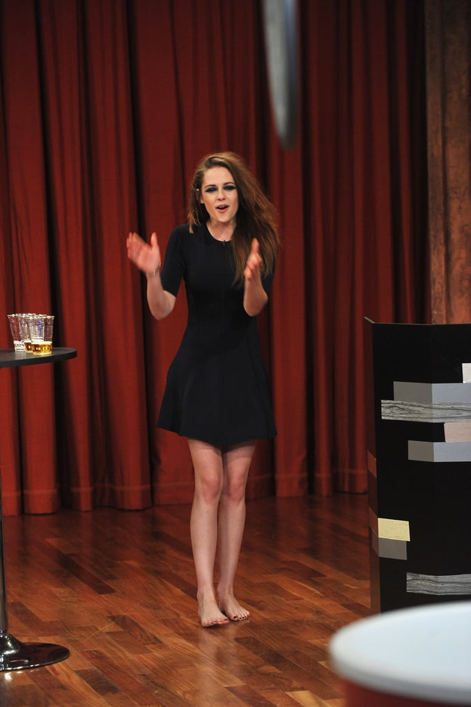 Kristen Stewart wore a black dress for her appearance.