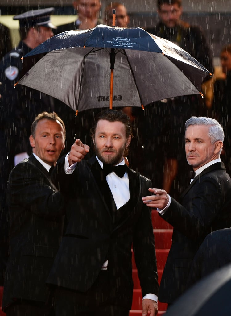 Joel Edgerton and Baz Luhrmann tried to stay dry.