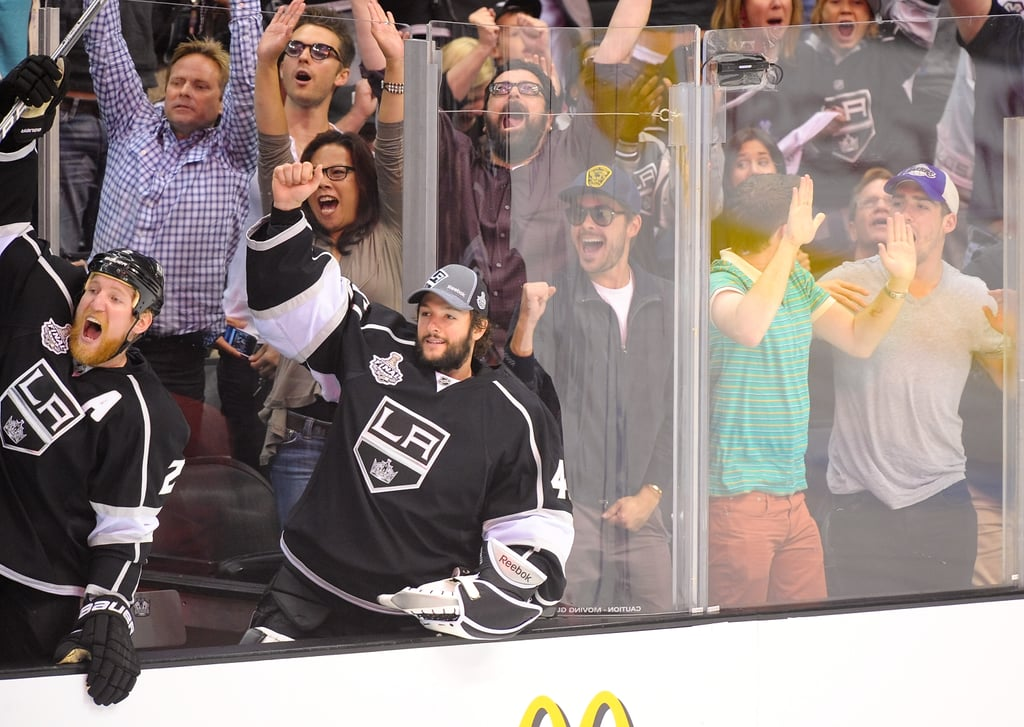 Zac Efron was in the middle of the action at the LA Kings Stanley Cup final game.