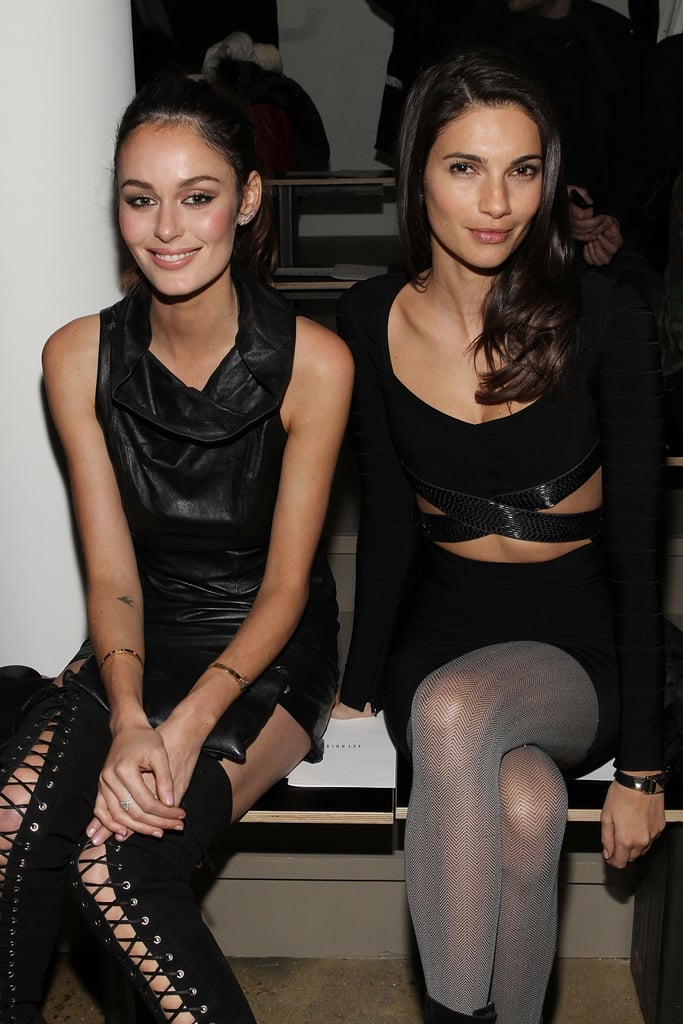 Nicole Trunfio (are those Alex Perry for Tony Bianco boots we see?) hung out with Teresa Moore at Dion Lee's showing on Friday.