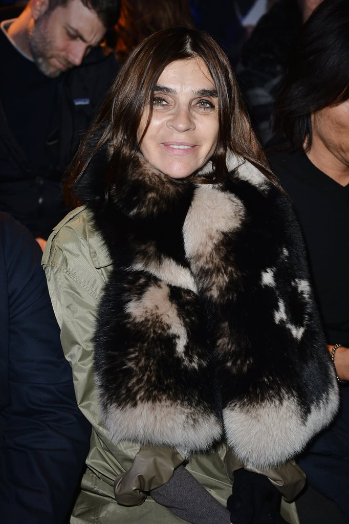 Carine Roitfeld cozied up to a fur stole while sitting front row at DSquared2.
