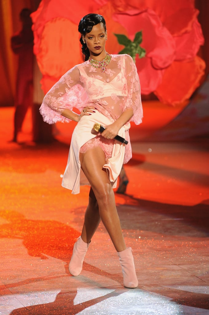 Rihanna performed on stage as part of the NYC runway show.