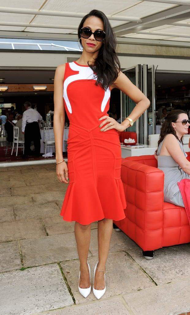 Zoe Saldana heated up the Audi International Polo event in a graphic Antonio Berardi tea-length trumpet-skirt dress, white-hot pumps, and blackout shades. Where to Wear: A day at the track. Bet on love, not the horses.
