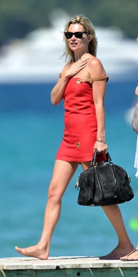 Kate Moss in St. Tropez Carrying Sofia Coppola For Louis Vuitton's Suede Duffel Bag