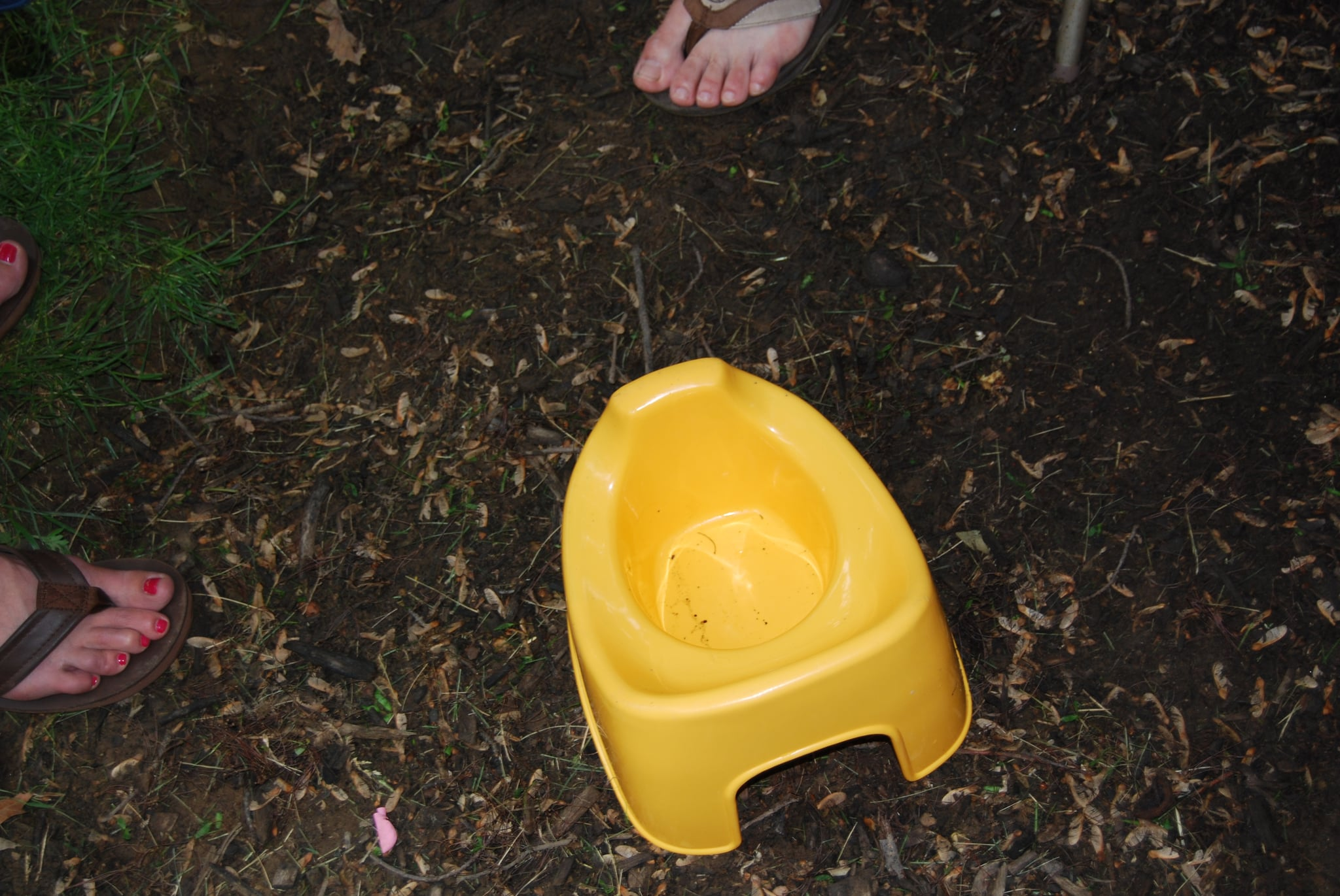 Porta–potty for wee ones in the bark.