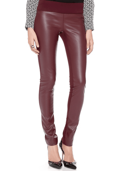 Club Monaco Burgundy Tasha Faux Leather Leggings