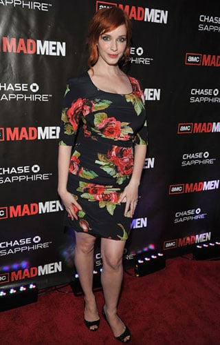 Pictures of Christina Hendricks in Retro Rose Print Dress
