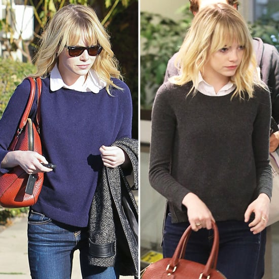 Emma Stone Wearing Sweaters With Blouses