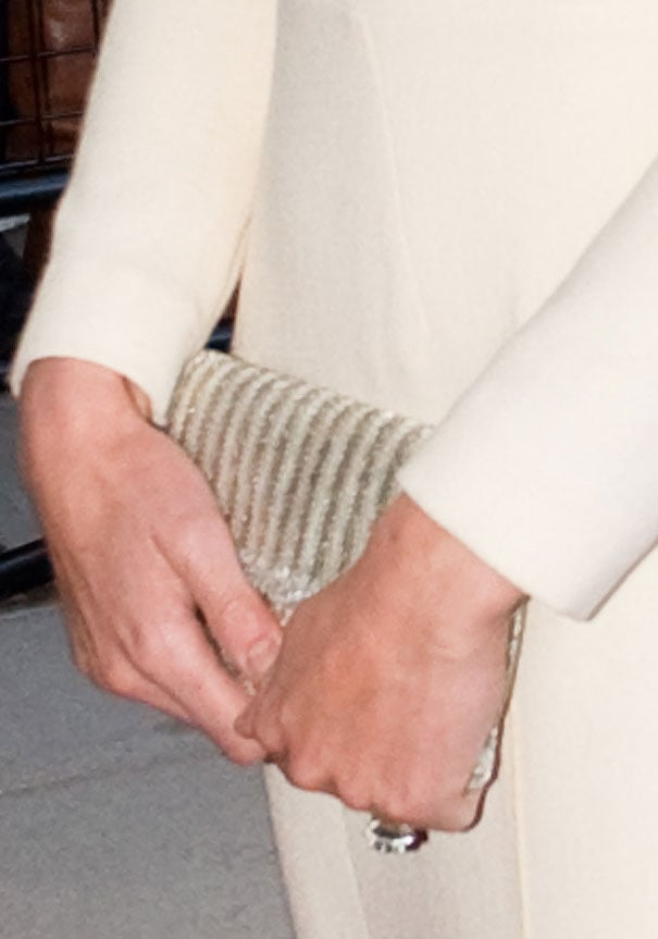 A closer look at Kate's iridescent striped clutch.