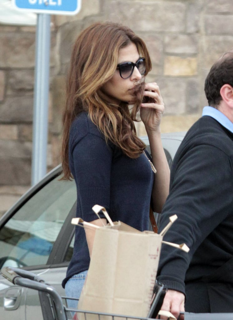 Eva Mendes loaded up on groceries and appliances.