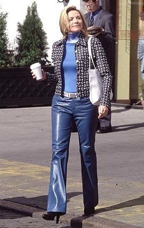 Nothing says power PR girl like blue leather pants.