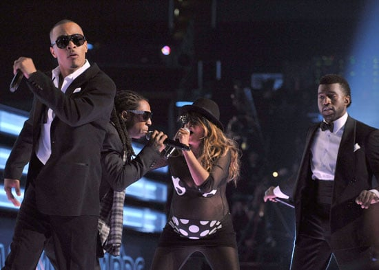 Photo of TI, Lil Wayne, Kanye West, and MIA at the Grammys