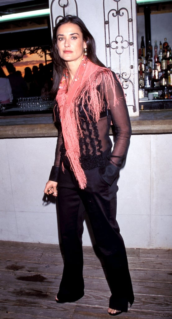 A fringed scarf and fancy black separates for the Talk magazine launch party in '99.