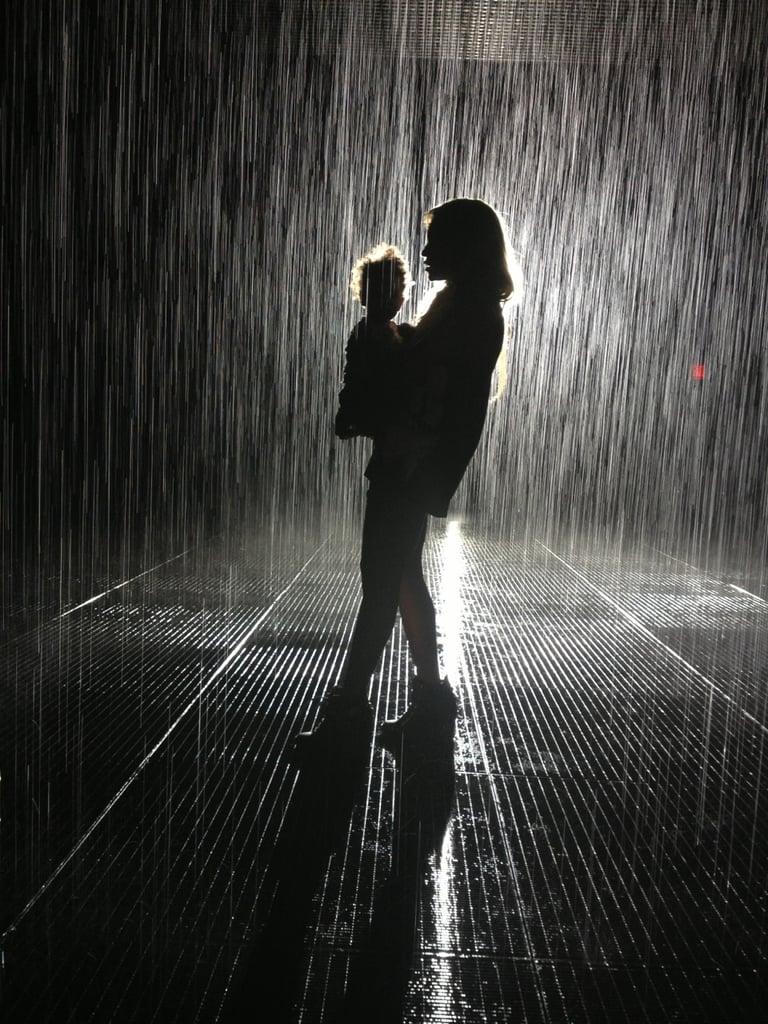 She dances in the rain.