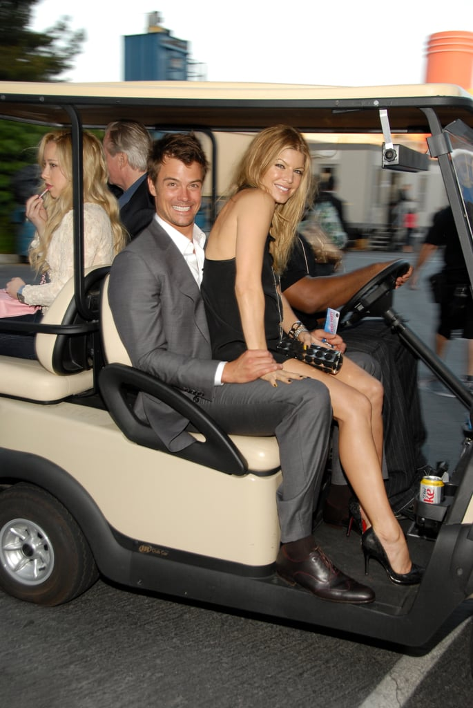 Josh Duhamel and Fergie rode on a golf cart at the June 2007 MTV Movie Awards.