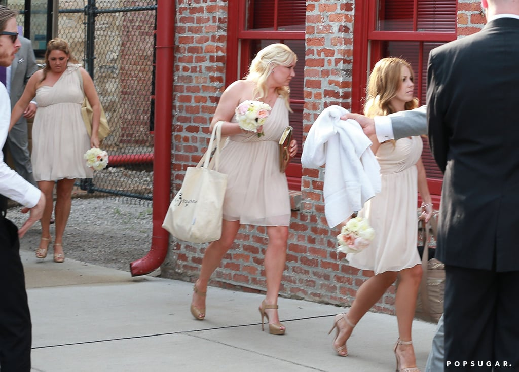The bridal party looked cute in a set of blush dresses.