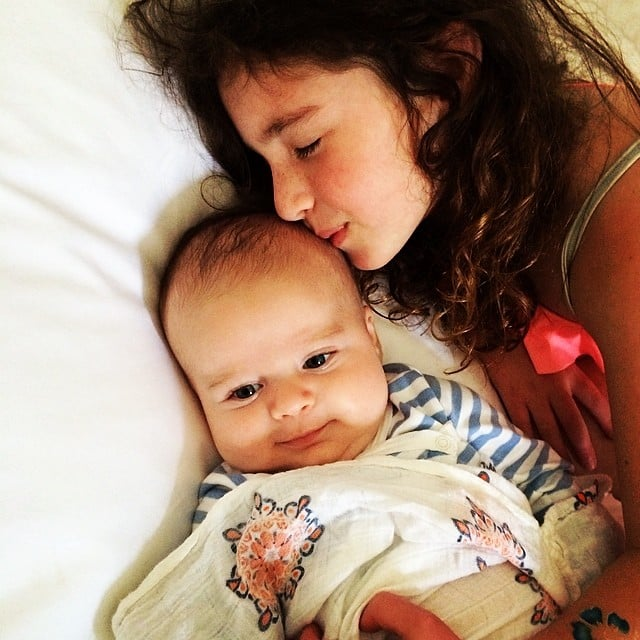 Poet Goldberg gave baby Lyric a quick little kiss one morning. Source: Instagram user moonfrye